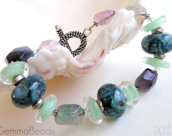 MERMAID TALE - Artisan Lampwork and Gemstone Bracelet
