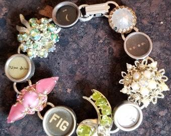 FUNKY & FABULOUS Vintage Rhinestone and Typewriter Key Bracelet