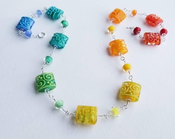 COLOR POP - Artisan Lampwork Glass Bead and Sterling Silver Wrapped Necklace