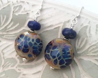 LAPIS SHIMMER - Artisan Lampwork Glass and Lapis Lazuli Sterling Silver Earrings