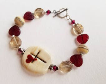 GREATEST LOVE - Artisan Lampwork Glass Bead Bracelet