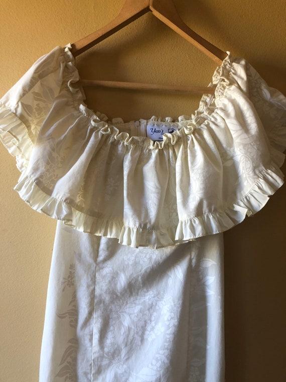 Vtg Traditional Hawaiian Cotton Wedding Dress