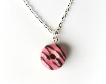 Chocolate Drizzle Strawberry Frosted Donut Necklace