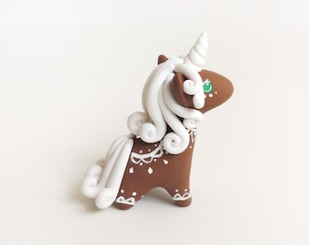 Gingerbread Cookie Inspired Unicorn Miniature Figure