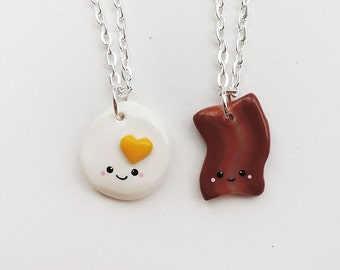 Cute Bacon and Egg Best Friends Necklace Set Polymer Clay Friendship Jewelry