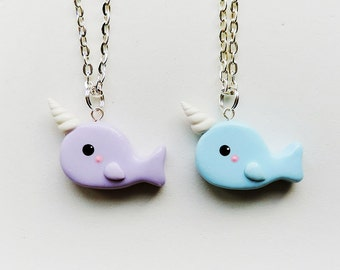 Best Friends Purple and Blue Narwhal Necklaces