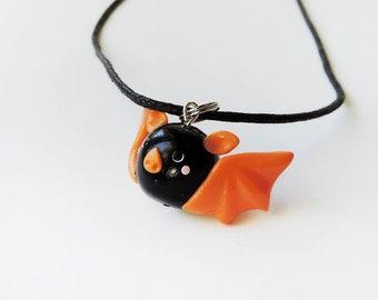 Halloween Black and Orange Cute Bat Charm Necklace