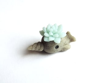 Faux Stone Narwhal Planter with Ice Blue Succulent Miniature Decoration