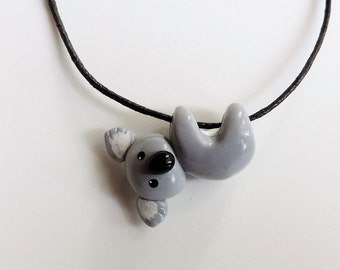 Hanging Koala Necklace Cute Polymer Clay Pendant