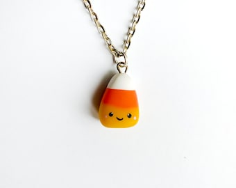 Halloween Smiling Candy Corn Charm Necklace