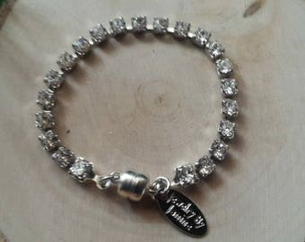 Swarovski Crystal tennis bracelet with magnetic clasp with 4mm clear swarovski crystals