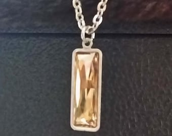 Rectangular Swarovski Crystal Pendant on a long chain with a trigger clasp for adjustability