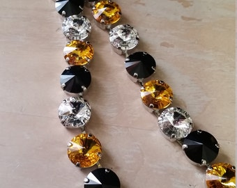 12mm Black and Gold Swarovski Tennis Necklace in a  Rhodium Plated Setting