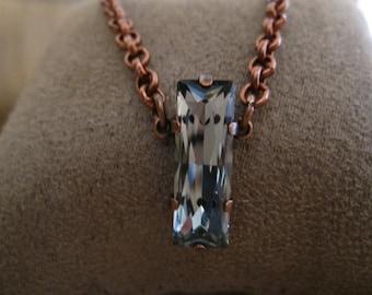Black Diamond Swarovski Crystal Baguette Necklace in Antique Copper Setting