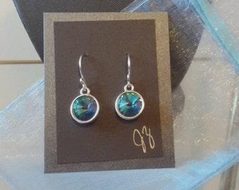 Silver earrings with Aqua Vitrail Light Swarovski Crystals