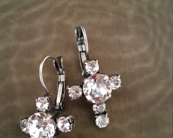 Clear Swarovski Crystal Cross Leverback Earrings in Antique Silver, Antique Gold or Hematite Setting
