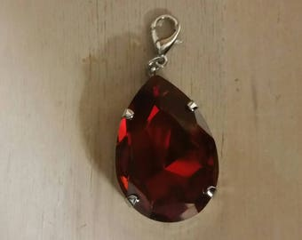 Large, Red Magma Swarovski Pear Shaped Pendant with Lobster Clasp to attach to a necklace