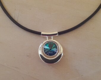 Black leather necklace with Aqua Vitrail Light Swarovski Crystal in a round silver plated pendant