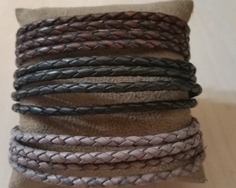 4 wrap Braided Leather Bolo Bracelet with Magnetic Clasp in Brown, Black or Grey