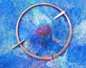 Sweater Clip Shawl Pin Brooch, Copper Penannular, Celtic Style