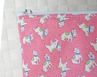 vintage style Mini pink white dogs puppy puppies small zipper pouch cute change purse pink zip pouch wallet