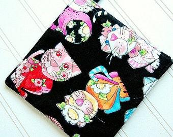One 1 FUN Loralie Harris Colorful calico cat kitty lover Handmade hot pad kitten potholders Black Pot Holder hostess gift, hot pad, trivet