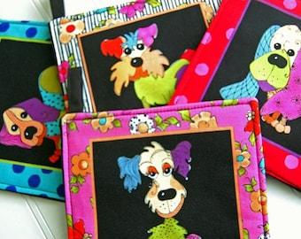 One 1 FUN Loralie Harris Colorful Dogs Handmade hot pad Puppy potholders Black Pot Holder hostess gift, hot pad, trivet