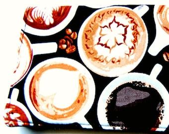 COFFEE ADDICT  checkbook cover STARBUCKS Black espresso latte cappuccino coffee art bean Handmade coupon holder black fabric cash wallet