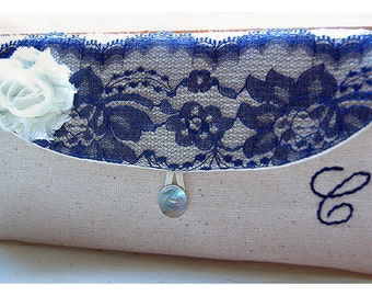 navy blue lace Personalize Bridesmaid gift burlap clutch purse bag blue lace bridesmaid clutch wedding clutch bridal clutch cosmetic MakeUp