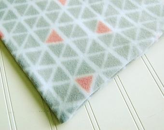 "SOFT Fleece grey & coral triangles Luxury Heating Pad *COVER* fits 12"" x 15"" cozy Fleece handmade geometric"