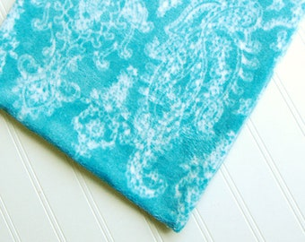 "AQUA Blue TILE Luxury Heating Pad EXTRA Soft Fleece blue White floral  Luxury Heating Pad *Cover* fits 12"" x 15"" cozy Fleece handmade"