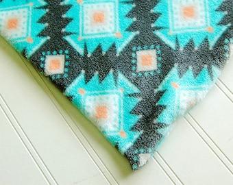 "SOFT Fleece grey BLUE coral Luxury Heating Pad *COVER* fits 12"" x 15"" cozy Fleece handmade Aztec"
