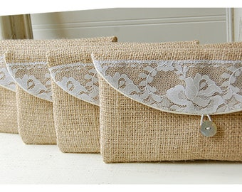 burlap lace wedding, clutch purse, rustic wedding, rose color choice, Personalize, Bridesmaid gift, wedding clutch, bridal clutch, pouch