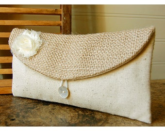 ivory tan clutch burlap lace blue rustic black,gold gray purse wedding shabby white rose flower bag Personalize Bridesmaid gift MakeUp