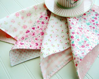 "Mix PINK petite flowers Assorted 8X8"" Cloth Cotton Napkins, Set of 4, Double Sided,Shabby Chic Reversible wedding washable roses rosebud"