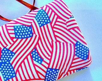 Handmade AMERICAN FLAGS eyeglass sunglass case United States red white blue fabric military patriot eyeglass sunglass case