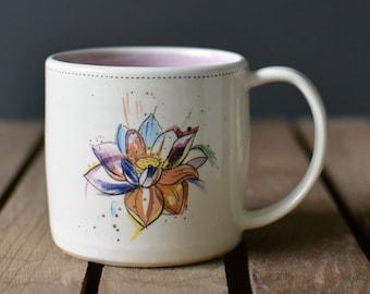 Lotus flower mug - she persisted- READY TO SHIP