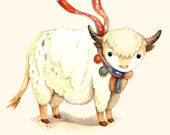 Children wall art, Y is for yak, Alphabet animal, Alphabet animal letters, Watercolor painting, Animal wall art, Animal Nursery Art