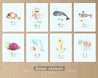 Ocean themed nursery, Ocean animals print set, Sea animals, Ocean animals nursery, Sea creatures, Ocean creatures set of 8 prints