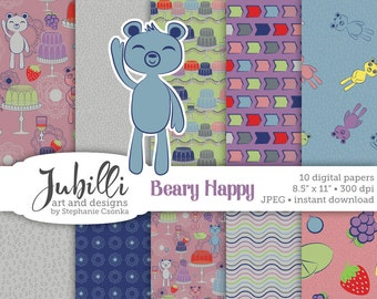 Happy Bears Digital Paper, 8.5x11 Digital Paper, Gelatin digital, Fruity digital, Jelly Molds digital, Bear digi, Scrapbooking, Papercraft