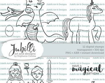 Dragon Digital Stamp Set, Unicorn Digital Stamp, PS Brushes, Dragon digi, Knight Digi, Princess Digi Stamp, Magical Digi, Medieval Digital