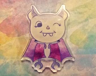 "Cute Bat Acrylic Pin   1.01""x1.25""    Small Broach   Collectible Halloween Jewelry"