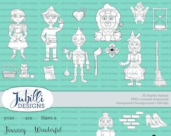 Wizard of Oz Digital Stamp Set, Oz Digi, Dorothy PNG Clip Art, ABR PS Brushes