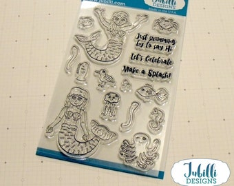 Mermaid Clear Stamp Set   4x6 Photopolymer Stamps, Sea Creatures Rubber Stamps