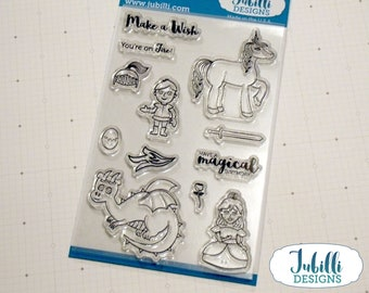 Magical Wishes Clear Stamp Set   4x6 Photopolymer Stamps, Princess Rubber Stamps