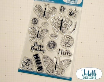 Butterflies and Flowers Clear Stamp Set   4x6 Photopolymer Stamps, Flower Rubber Stamps