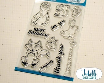 Forest Animal Clear Stamp Set   4x6 Photopolymer Stamps, Owl Fox Rabbit Rubber Stamps