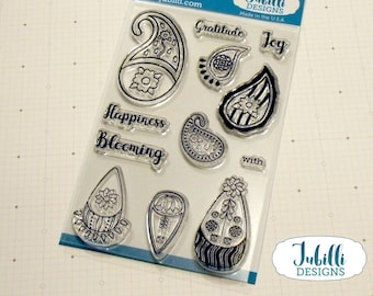 Floral Paisley Clear Stamp Set   4x6 Photopolymer Stamps, Flower Rubber Stamps