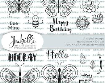 Butterfly Digital Stamp Set, Lineart Butterfly Digi, Photoshop Brushes, Bug digi, Wings Digi, Wonderland digi, Multistep digi stamp, Flying
