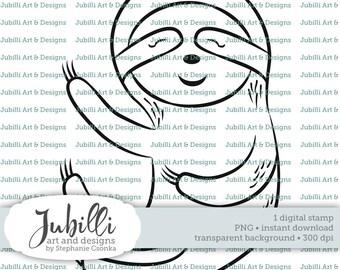 Sloth Digital Stamp, PNG stamp, Sloth digi, Tropical Animal Digi, Digi Stamp, Animal digi, Jungle Digital, Sleepy Sloth Digi, Sloth stamp